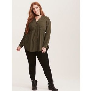 Torrid Olive Shadow Stripe Baby Doll Tunic